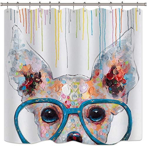 - Riyidecor Cute Dog Shower Curtain Cartoon Kids Animals Colorful Oil Painting Glass Abstract Bath Decor Fabric Set Polyester Waterproof 72x72 Inch 12-Pack Plastic Hooks