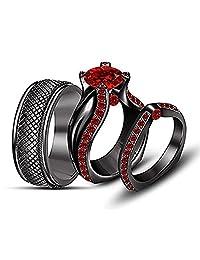 Silvernshine Jewels Black Gold FN Red Garnet Bridal Engagement Ring His And Her Trio Wedding Band Set
