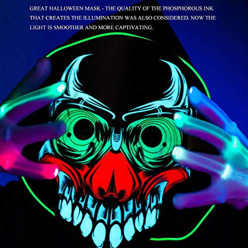 WmBetter Halloween Mask, Sound Activated Light Up Face Mask Reactive Rave Skull Mask Glowing Party Dance Music Flashing Mask