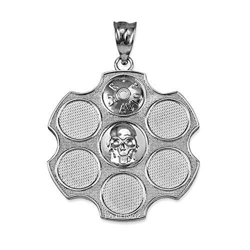 LA BLINGZ Sterling Silver Russian Roulette Pendant Necklace (Pendant Only) ()