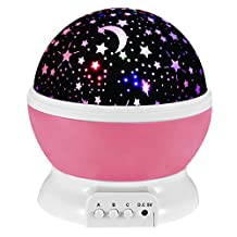 Happy Hours - Muti Color Romantic Room LED Night Light Rotating Projector, Mood Light, Decorative Light for Kid Bedroom, Valentine's / Christmas Gift(Red)
