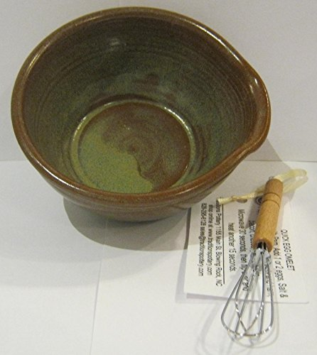 Handmade pottery egg omelet bowl with whisk and recipe / Microwave / oven