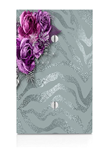 Moonlight Printing Roses Frosted Single Blank Electrical Switch Plate