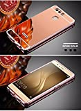 D-kandy Luxury Metal Bumper + Acrylic Mirror Back Cover Case For For HUAWEI P9 - ROSE GOLD
