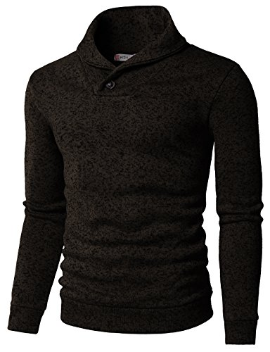 - H2H Mens Knited Slim Fit Pullover Sweater Shawl Collar with One Button Point Brown US S/Asia M (KMOSWL036)