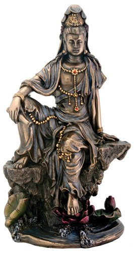 Small Water & Moon Kuan Yin Bodhisattva Buddha Statue Figurine Model