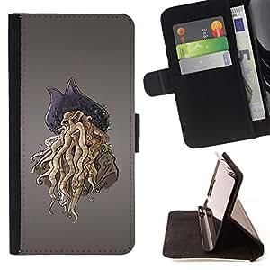 ForSamsung Galaxy S3 MINI i8190 (NOT S3) Case , Monster Pirate- la tarjeta de Crédito Slots PU Funda de cuero Monedero caso cubierta de piel