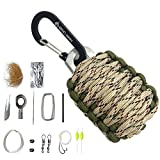 tiny fire starter kit - EDC.1991 Professional Emergency Paracord Survival Kit with 12 Outdoor Tools Including Fire Starter/Sharp Striker/Tin Foil/Fishing Line/Fish Hooks (Desert)