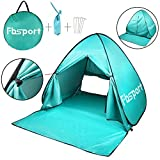 FBSPORT Portable Lightweight Beach Tent,Automatic Pop Up Sun Shelter Umbrella,Outdoor Cabana Beach Shade with UPF 50+ Sun Protection (Teal)