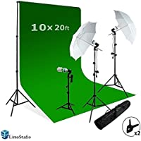 LimoStudio Photography Studio Video Photo ChromaKey Green Screen Background Support Kit 600W Output 3 Point Studio Photography Umbrella Lighting Kit, AGG408