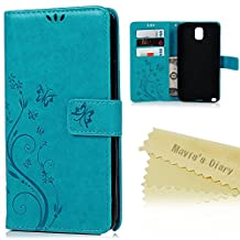 Note 3 Case,Samsung Galaxy Note 3 Case - Mavis's Diary Wallet Embossed Butterflies Flowers Design Folio Flip PU Leather with Stand Magnetic Closure Card Slot Shockproof Soft TPU Inner Cover - Blue