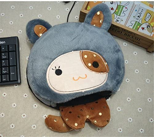 Heated Mouse Pad USB Warm Winter Mouse Pad with Wristguard USB Mouse Pad,Navy Blue Rabbit