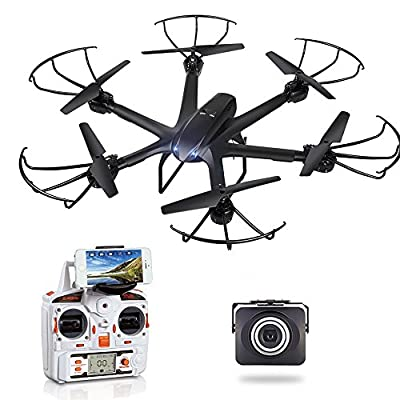 GoolRC X600 RC Hexacopter WiFi FPV Quadcopter Drone with Camera Live Video HD 720P Android/IOS APP Compatible with 3D VR Headset,One-Key Return & Headless Mode & 360 Degree Flips Roll by GoolRC