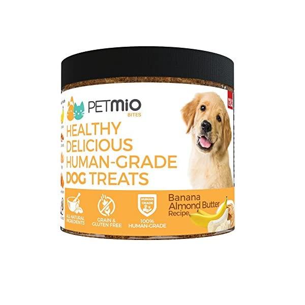 PetMio Bites Naturals. Banana Almond Butter Dog Treat. All-Natural. Human-Grade. Grain-Free. Gluten-Free. Made in USA…