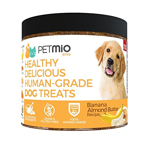 Petmio Bites - Human Grade Dog Treats, Banana Almond Butter Pumpkin Recipe, Certified Non-Gmo, Gluten Free, Grain Free, All Natural, And Made In The Us