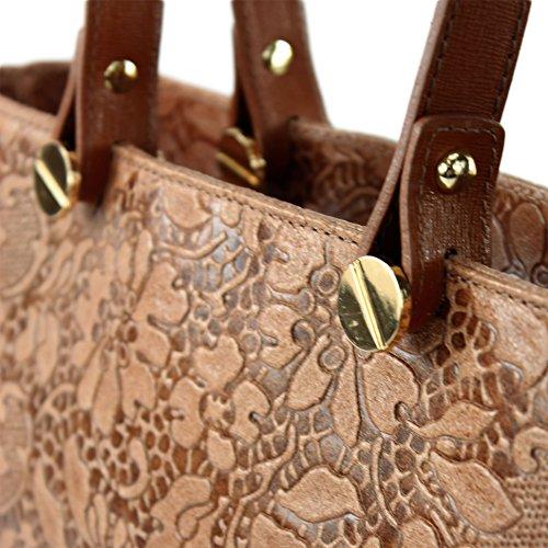 Farbe shopper Italian De Präzise Ladies In T132 Vera blüten Pelle Realizzata Farbe Dunkelcamel Modamoda nur C7aqwtq