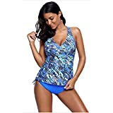 FlyMaff Blue Sea Cami Swim Top and Panty Set Swimsuit for Women