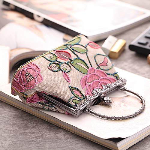 perline rosa lino sera sera rosa in Borsa da etnico cheongsam Borsa borsa classica borsa Vola da di Ux8H0qEHp