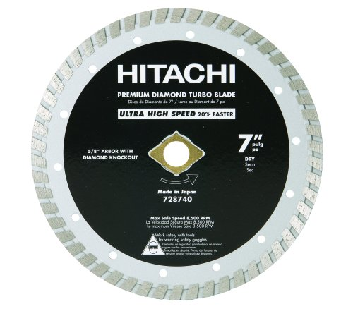 Hitachi 728740 7-Inch Dry Cut Turbo Diamond Saw Blade for Concrete and Masonry