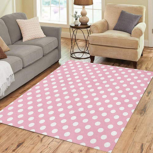 Semtomn Area Rug 5' X 7' Pink Cartoon Polka Dot Pattern Cute Abstract Kids Modern Home Decor Collection Floor Rugs Carpet for Living Room Bedroom Dining Room ()
