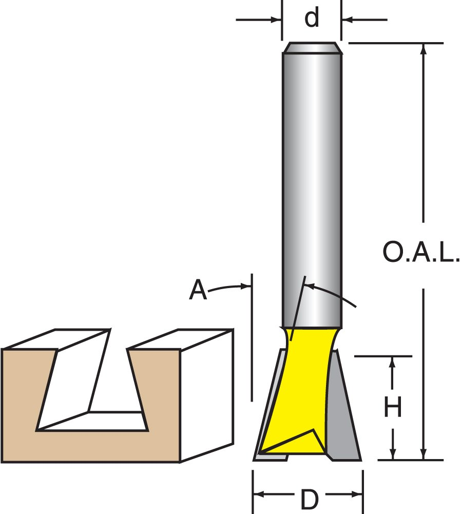 1//2 Shank 90 Dovetail Bit For Leigh Dovetail Woodtek 921376 Router Bits
