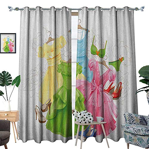 Heels and Dresses Blackout Window Curtain Princess Outfits Bikini Shoes Wardrobe Party Costumes in Girls Design Customized Curtains W96 x L108 Multicolor (Shoes T-mac Basketball)