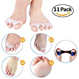 Bunion Corrector and Bunion Relief Protector Sleeves kit(11 Pcs), Bunion Splint and Big Toe Braces for Cure Pain in Big Toe Joint, Tailors Bunion, Toe Separators Spacers& Hammer Toe Straighteners