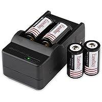 EaseBuy 4pcs 16340 Lithium Batteries RCR123A 3.7V Rechargeable Batteries Camera Batteries with 16340 Battery Charger