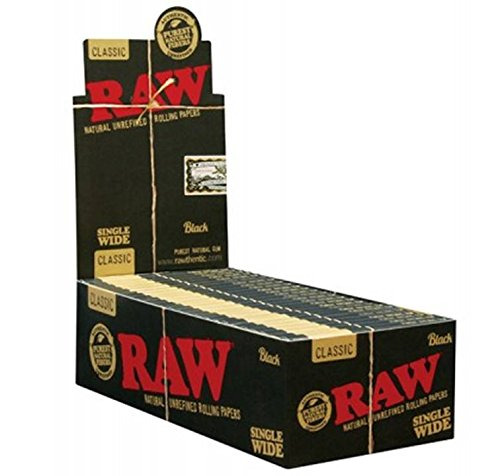 RAW Black Classic Natural Unrefined Rolling Papers - Ultra Thin - 70mm Single Wide - (15 Cigar Sampler)