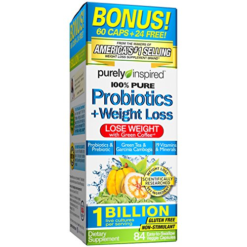 Purely Inspired Probotics + Weight Loss Tablets, Probiotic/Prebiotic Formula with Green Coffee & Garcinia Extract, 84 Chewable Tablets