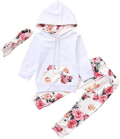 K-youth Ropa Bebe Niña Otoño Invierno Conjunto Recién Nacido Niña Camisas de Manga Larga con Capucha + Floral Pantalones Venda de Pelo 0-24 Meses Bebé Traje de Bautizo Fiesta Ceremonia: Amazon.es: Ropa