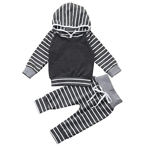 Gotd Newborn Infant Baby Girl Boy Clothes Winter Striped Hooded Tops+Pants Autumn Outfits Gifts (12-18 Months, Gray)