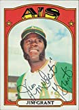 Signed Grant, Jim (Oakland Athletics) 1972 Topps Baseball Card in black ball point pen. autographed