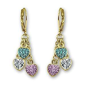 Kids Earrings - 18K Gold Plated Girls Earrings | Hypoallergenic Earrings for Girls | Dangle Earrings for Kids Crystal Heart Charms | Nickel Free Earrings for Sensitive Ears | Girls Jewelry for Kids