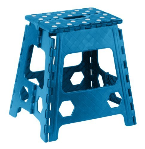 Folding Step Stool 15 Inch with Anti Slip Dots (Blue) by Superior Performance ()