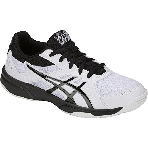 ASICS Upcourt 3 GS Kids Volleyball Shoes, White/Black, Size 4.5