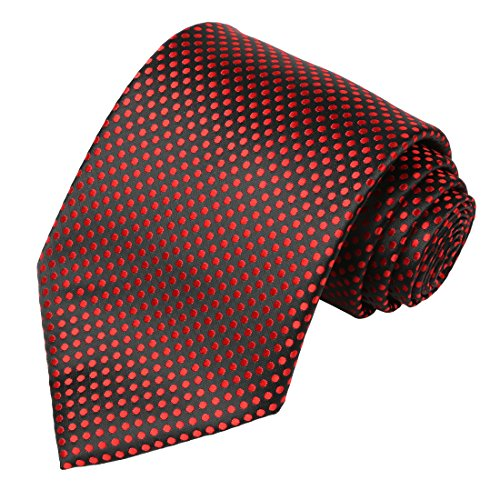 Dots Mens Black Necktie (KissTies Mens Black Tie Red Polka Dots 63'' XL Extra Long Necktie + Gift Box)