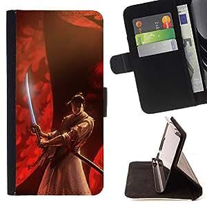 - Queen Pattern FOR Samsung Galaxy S4 IV I9500 /La identificaci????n del cr????dito ranuras para tarjetas tir????n de la caja Cartera de cuero cubie - samurai red Japanese warrior