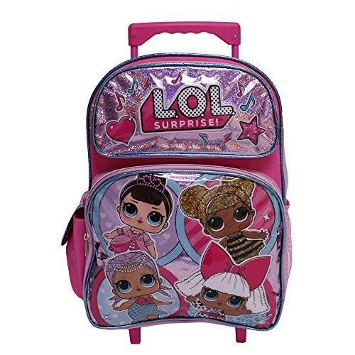 Backpack Friends Rolling (LOL Surprise! Hot Pink Large Girls' Rolling School Backpack- Miss Bee, Diva & Friends)