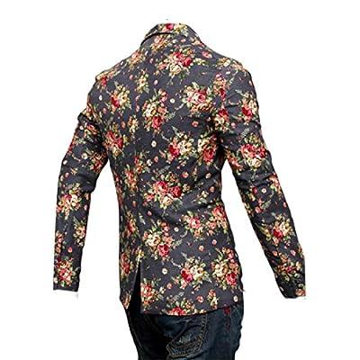 Sheng Xi Men Floral Print 1 Button Lapel Pockets Stylish Blazer Dress Suit