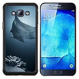 Caucho caso de Shell duro de la cubierta de accesorios de protección BY RAYDREAMMM - Samsung Galaxy A8 A8000 - pescados rayo arrecife de coral del mar de buceo tropical