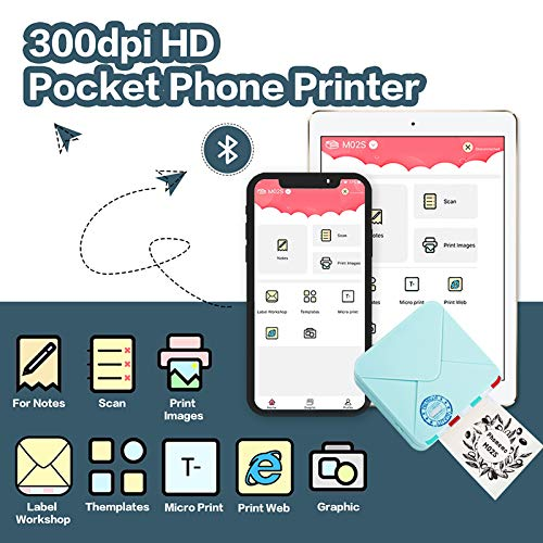 Phomemo M02S Pocket Printer- 300 dpi HD Bluetooth Thermal Photo Printer Compatible with iOS and Android, Black and White Image for Photo Printing, Plan Journal, Organization, Art Creation, Gift, Cyan