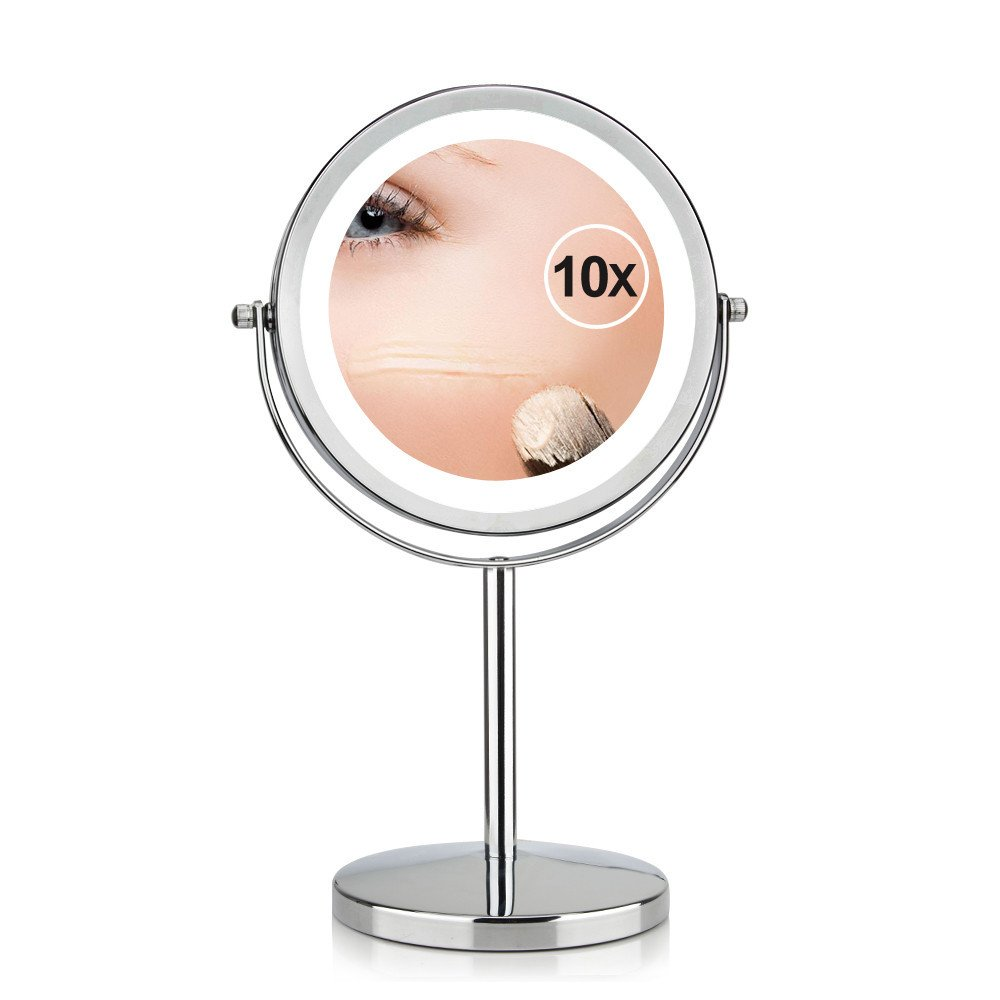 GF Wood 7 Inch 10X Magnification Circular Makeup Mirror Dual 2 Sided Round Shape 17 Leds Rotating Cosmetic Mirror Stand Magnifier Mirror