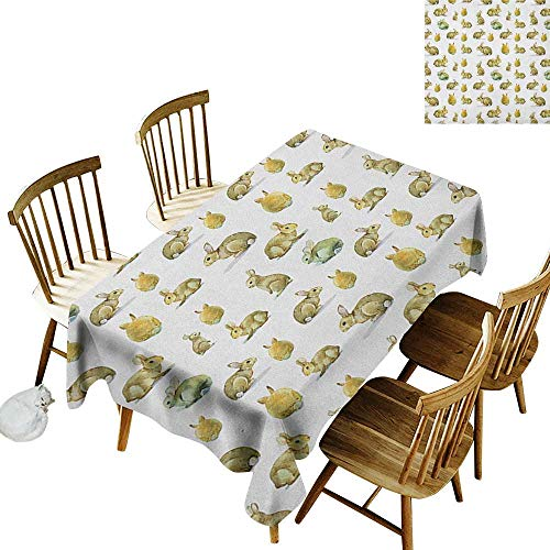 kangkaishi Oil-Resistant and Durable Long Tablecloth Kitchen Available Cute Furry Rabbit Bunny Pattern Easter Animals Domestic Fluffy Pets W60 x L102 Inch Pale Brown Pale Yellow