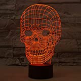 Skull 3D Lamp Optical Illusion Night Light YKL WORLD 7 Color Changing Table Desk Nightlight, Kids Birthday Gifts Best Decor for Home Bedroom Theme Restaurant
