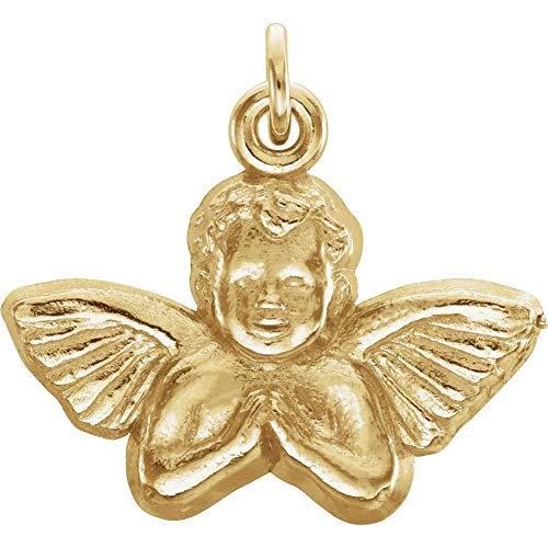 (14K Yellow Gold 14x16mm Angel Baby Pendant)