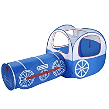 Kids Play Tent Cartoon Train Tent with Tunnel OUTAD Play Tent Game Playhouse for Boys and Girls Indoor/Outdoor - Blue