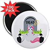 CafePress - Emoji Dead Unicorn - 2.25'' Magnet (100 pack)