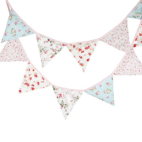 INFEI Pink Blue Vintage Flower Fabric Flag Buntings Garlands Wedding Children Birthday Party Decoration Bridal Shower ()