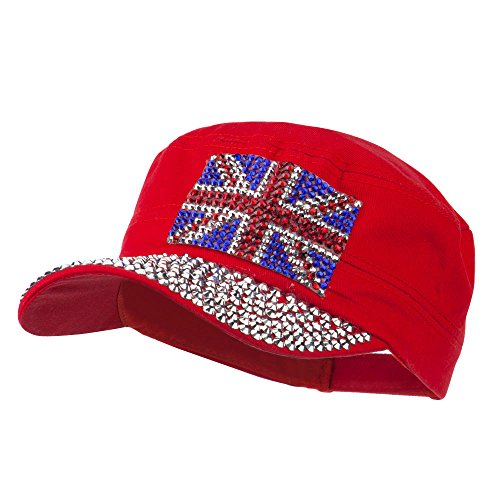 - Jewel Army Cap with Great Britain Flag - Red OSFM